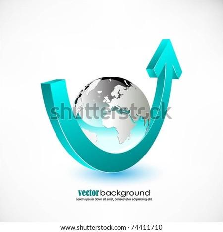 vector blue globe with arrow