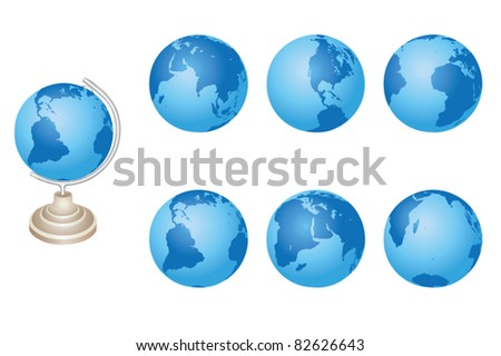 vector blue globes of Earth - set