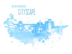 Vector blue grungy watercolor city landscape of Buenos Aires, Argentina