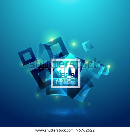 Vector blue horizontal eps10 geometric abstract background - stock vector