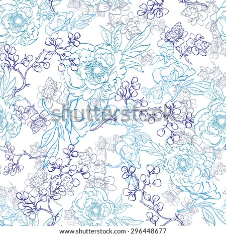 vector blue japanese floral