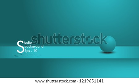 Vector, blue light color background empty studio space colored desk, display products with copy space for display design content. Authors to advertise products on websites,circles are just sweeteners