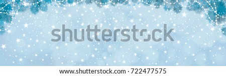Vector blue lights, stars  background with fir tree border and decorations. #722477575