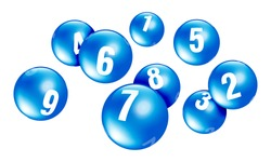 Vector blue lottery / bingo ball number from 1 to 9 isolated