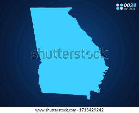 vector blue map of georgia  usa