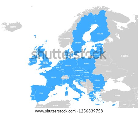 Vector Blue Map of the European Union with extra UE countries in grey on a White Background