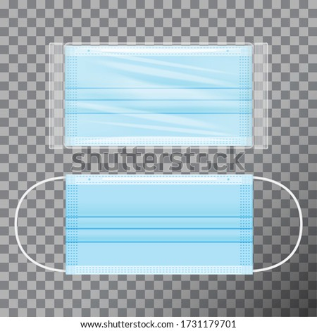 Vector blue medical face mask in transparent packaging. Realistic mockup on transparent background for your design stock photo
