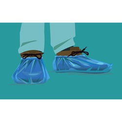 vector, Blue medical shoe covers are worn over shoes on the floor in hospital