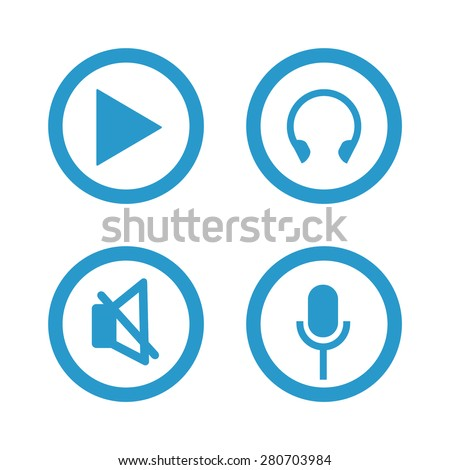 vector blue music signs set