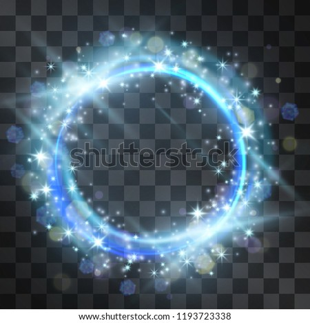 Vector blue neon light effect circle frame with hazy flares. Magical glowing cloud of shining stardust sparkles, winter illumination. Glistening energy ring flow in motion. Luxurious winter design.