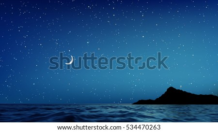 vector blue night sky and sea