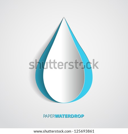 vector blue paper water drop