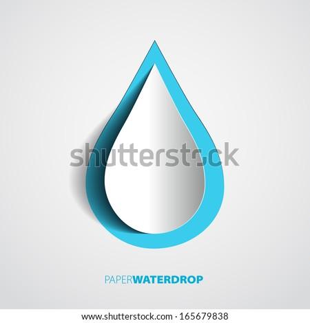vector blue paper water drop