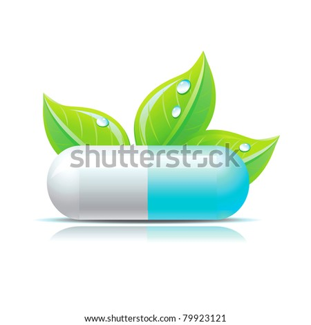 Vector blue pill with green leafs and droops. - stock vector