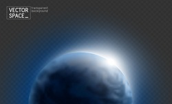 Vector blue planet Earth with sunrise in dark space isolated on transparent background. Blue globe illustration. Sciense astronomy design element