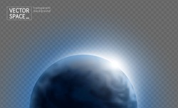 Vector blue planet Earth with sunrise in space isolated on transparent background. Blue globe illustration. Sciense astronomy design element