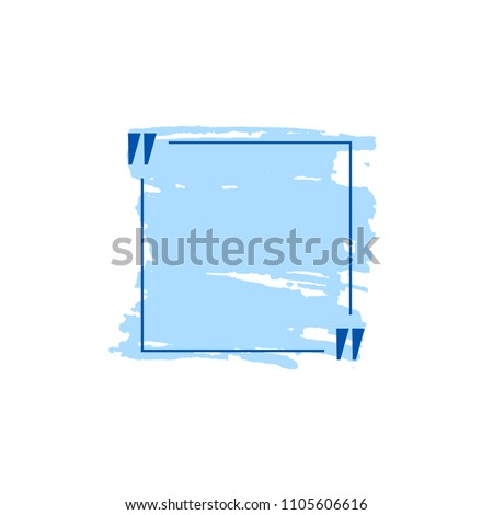 Vector Blue Quote Box with Hand Drawn Strokes, Blank Template Isolated on White Background.