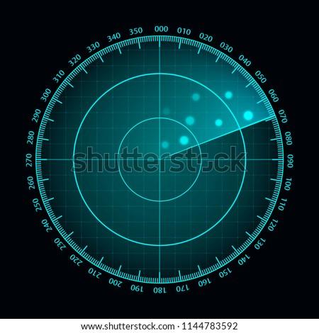 Vector blue radar screen. Military search system. Futuristic HUD radar display. Futuristic HUD interface. Сток-фото ©