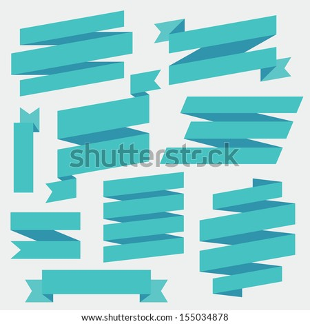 Vector Blue Ribbons Set
