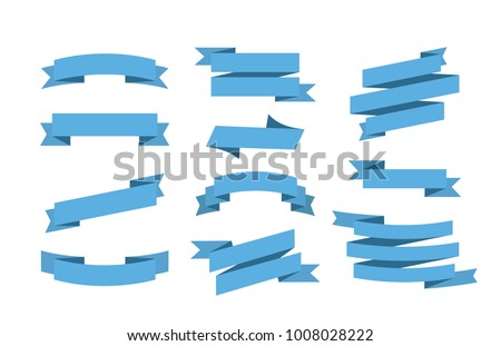 Vector Blue ribbons set. Elements isolated on white background