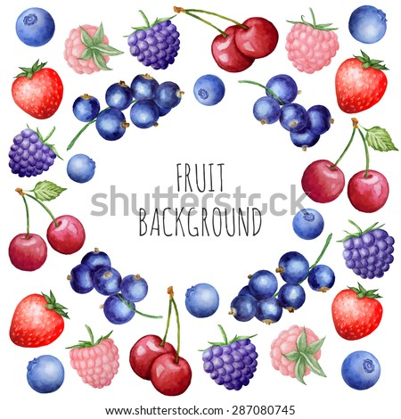 Vector blue round background with watercolor berries. Background for packaging, cards and posters.