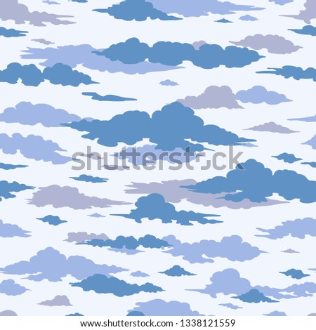 Vector Blue Sea of Clouds Seamless Pattern