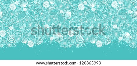Vector blue seashells line art horizontal seamless pattern ornament background with hand drawn elements.