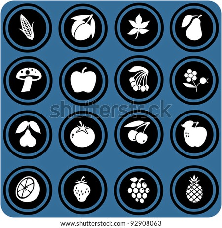 vector blue  signs. fruits and vegetables set . fruits icons.