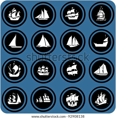 vector blue  signs. ship icons. Icon set Boats