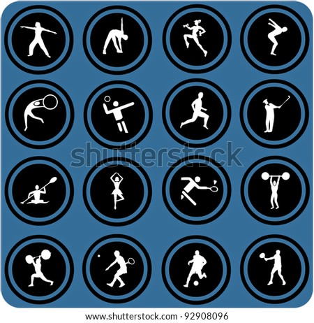 vector blue  signs. Sport icons. Vector set.