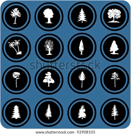 vector blue  signs. Vector illustration of tree silhouettes. tree icons