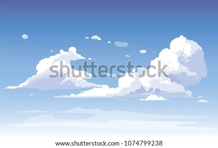 vector blue sky clouds anime