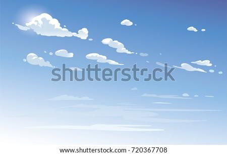 vector blue sky clouds anime