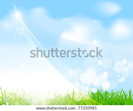 vector blue sky with grass, beam, blur