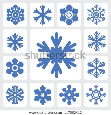 stock-vector-vector-blue-snowflakes-icon-set-on-white