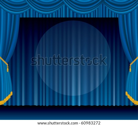 vector blue stage with big transparent spot light, EPS 10 file