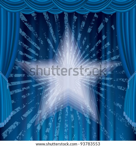 vector blue stage with star and grunge rays