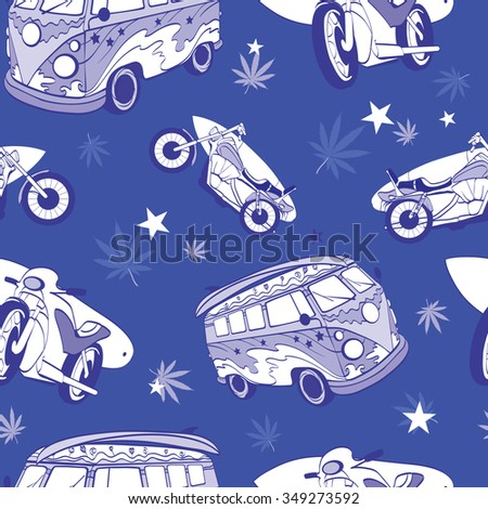 Vector Blue Surfboards On Hippie Bus Motorcylces Seamless Pattern. Bike. Vacation. Surfing. Hawaii. California.