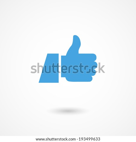 vector blue thumb up icon with shadow