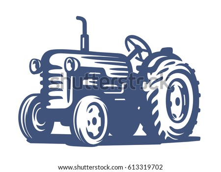 vector blue Tractor icon on white background