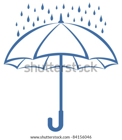 Vector, blue umbrella and rain drops, symbolical pictogram on white background
