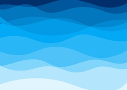 Vector blue water wave layer shape zigzag pattern concept abstract background flat design style illustration.