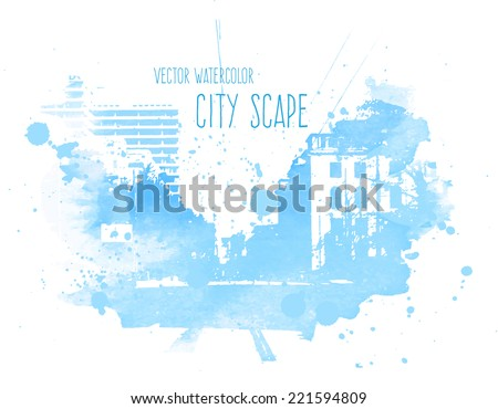 vector blue watercolor street