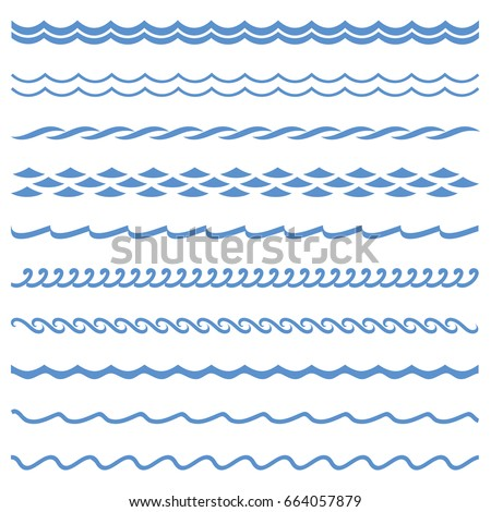 Stock Photo Vector blue wave icons set on white background. Water waves