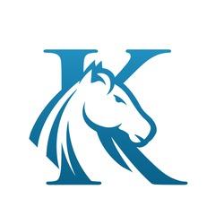 Vector Blue Wild Horse Initial K Business Logo