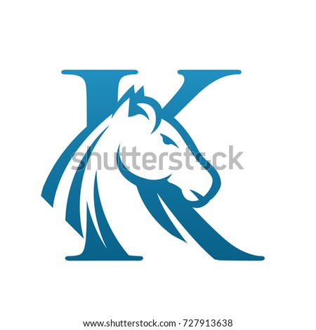 vector blue wild horse initial