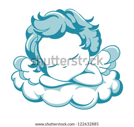 vector blue winged angel sleeping