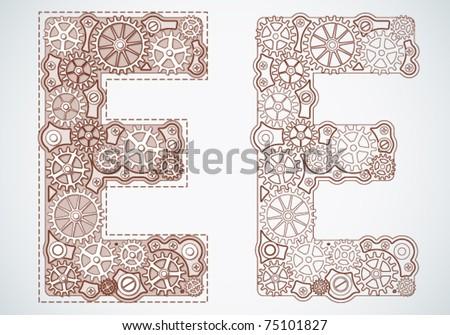 Vector blueprint alphabet of gears. Letter e