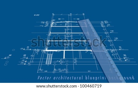 vector blueprint background with building section and ruler