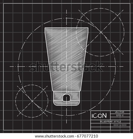 Vector blueprint cosmetic cream bottle on engineer and architect background